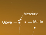 Congiunzione Giove - Marte - Mercurio