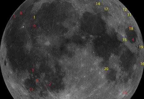 Impatti registrati sulla Luna