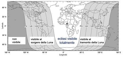 Aree di visibilità dell'eclisse
