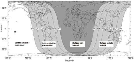 Visibilità dell'eclisse totale del 28 agosto