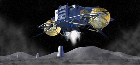Modulo lunare in atterraggio