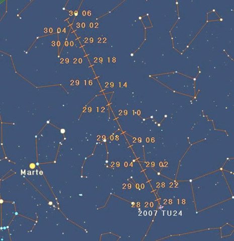 Mappa passaggio asteroide