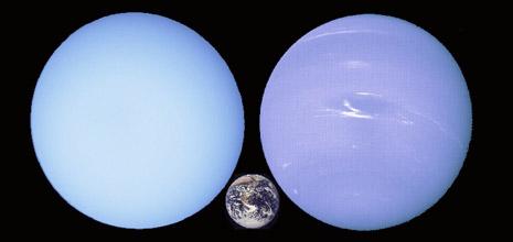 Urano, la Terra e Nettuno in scala