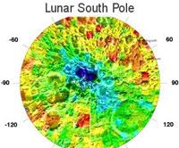 Mappa della temperatura del polo sud Lunare fatta dal Luna Prospector