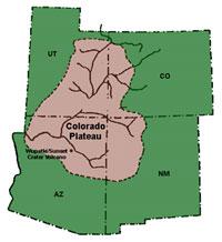Il Plateau del Colorado: mappa