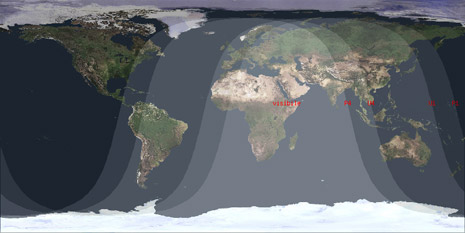 Proiezione Mercatore per l'eclissi parziale di luna de 16 agosto 2008