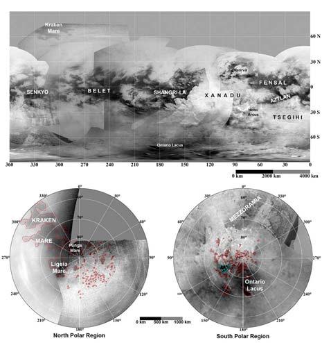 Mappa di Titano con i maggiori laghi in evidenza