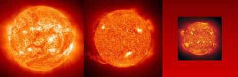 Due immagini del Sole riprese il 28 luglio 2008 (sinistra) ed il 18 giugno 2009 (centro)