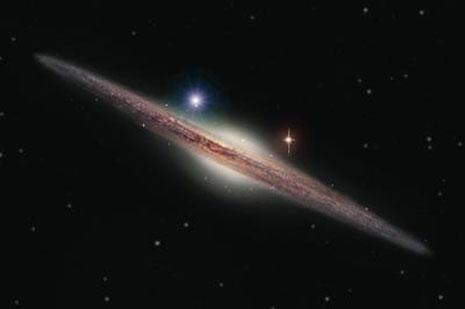 Una visione artistica della galassia ESO 243-49. Il buco nero HLX-1 appena scoperto è la macchia azzurra sulla sinistra della parte centrale della galassia