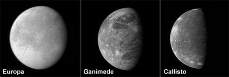 Europa, Ganimede e Callisto