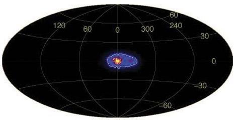 Al centro della galassia si vede molto bene la zona ricchissima di raggi gamma (osservazioni INTEGRAL)
