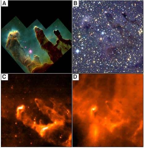 L'immagine dei pilastri della creazione in differenti lunghezze d'onda