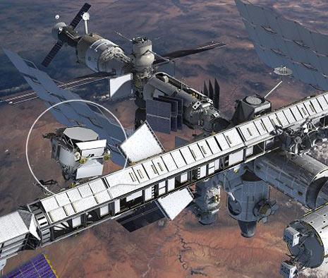 Rappresentazione artistica dello Spettrometro Magnetico Alfa installato sulla Stazione Spaziale Internazionale