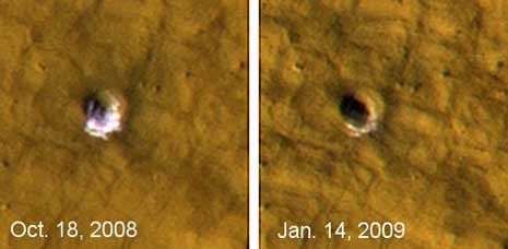 un giovane cratere largo 6 m e profondo 1.33 m