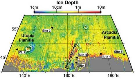diagramma che mostra i cinque siti dove altrettanti crateri da impatto hanno portato alla luce ghiaccio