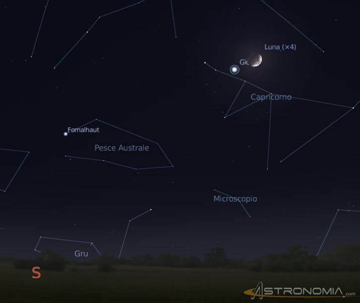 Congiunzione Luna-Giove - Immagine da www.astronomia.com