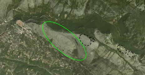 Visione satellitare del cratere principale