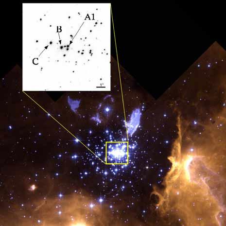 L'esatta posizione della iper-gigante NGC 3603 A1