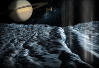 in questa rappresentazione pittorica vediamo uno scorcio di Saturno osservato dalle vicinanze di un satellite ghiacciato