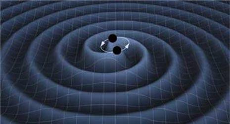 Rappresentazione artistica dell'increspatura del tessuto spazio-temporale che si propaga nell'Universo attraverso le onde gravitazionali, causata da un sistema binario di buchi neri.