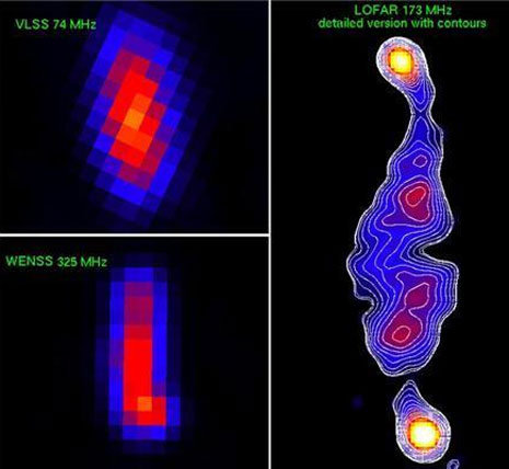 Un confronto impressionante tra l'immagine di LOFAR, del Very Large Array e del Westerbork Synthesis Radio Telescope