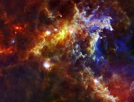 Nebulosa Rosetta ripresa all'infrarosso dal telescopio Herschel