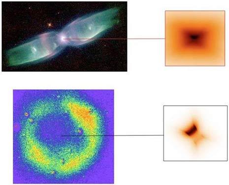 In alto la nebulosa bipolare M2-9, In basso la nebulosa circolare dell'Oggetto Sakurai con a destra il disco corrispondente