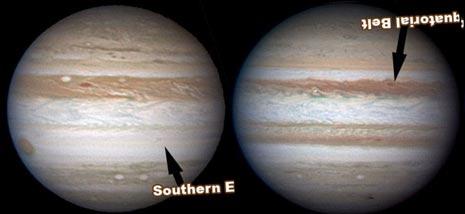 Ecco come appare Giove in questo mese (a sinistra), paragonato a come appariva nel luglio del 2009