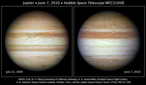 Le differenze nell'aspetto della superficie di Giove nel 2009 e nel 2010