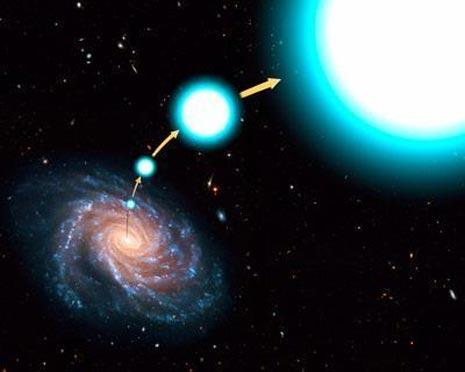 Una visione artistica del viaggio fantastico della stella blu HE 0437-5439