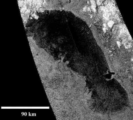 immagine del lago Ontario di Titano ripresa dalla sonda Cassini il 12 gennaio del 2010