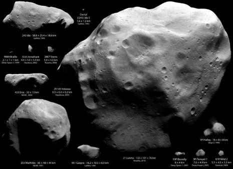 gli asteroidi e sulle comete osservate finora dalle sonde spaziali