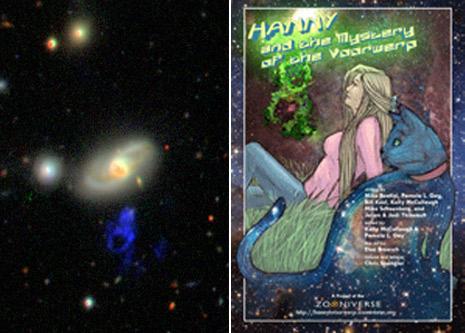 A sinistra un'immagine dell'oggetto di Hanny e a destra la copertina del libro a fumetti