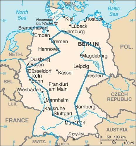 Date 15 città tedesche, esiste un percorso minimo che le visiti tutte una e una sola volta