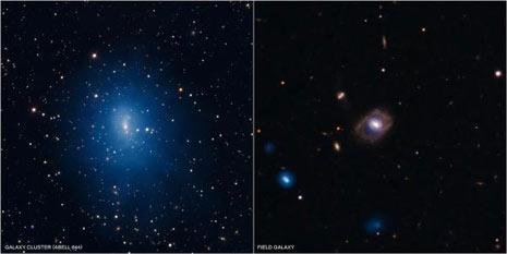Due galassie studiate dalla ricerca di cui si parla nel testo. A sinistra la Abell 644, appartenente a un gruppo distante 1,1 miliardi di anni luce. A destra la SDSS J1021+1312
