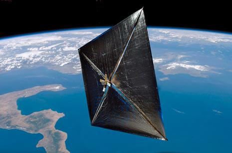 Ecco una libera interpretazione grafica del volo a vela della sonda NanoSail-D