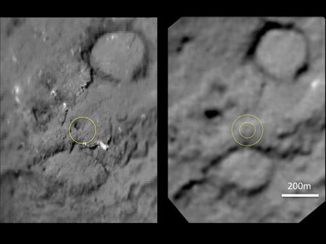 la zona della cometa interessata dall'impactor