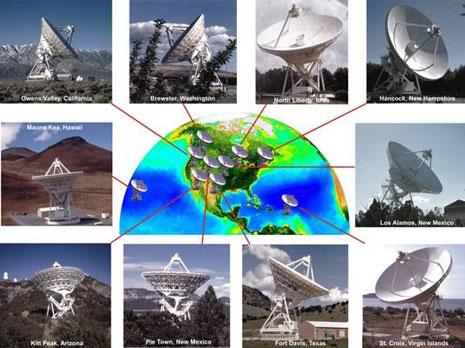 I dieci telescopi che compongono il VLBA