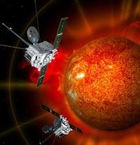una visione artistica del Sole tridimensionale e delle sonde che lo monitorano