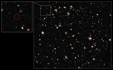 L'immagine, ripresa allo Space Telescope, in cui si è identificata la primitiva galassia UDFy-38135539