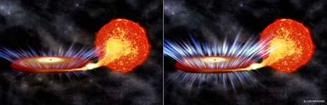 """Nella parte di sinistra il buco nero sta """"mangiando"""", a destra un'esplosione di energia"""