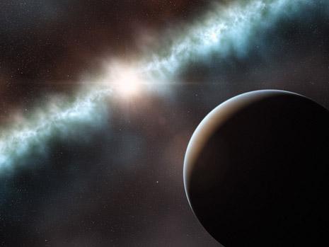 Una visione artistica del sistema planetario in formazione di T Cha
