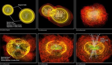 La sequela di immagini ottenute durante la simulazione al computer della fusione di due stelle di neutroni che si trasformano in un buco nero