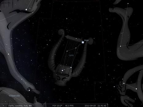 la lira secondo stellarium