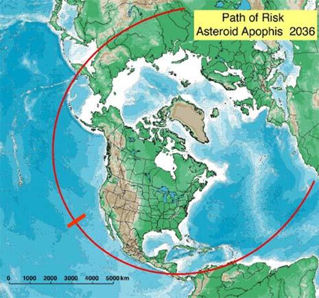 La traccia dei possibili punti d'impatto prevista per Apophis nel 2036