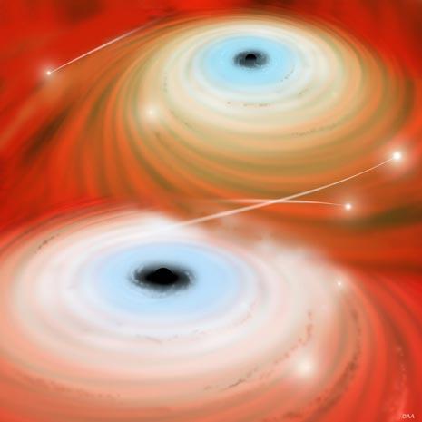 Due buchi neri supermassicci si stanno unendo divorando le stelle che vagavano indisturbate nei loro paraggi