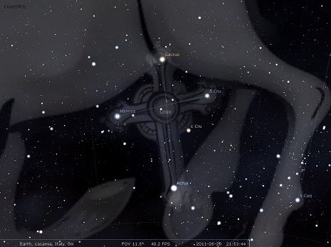 La Croce del Sud secondo Stellarium
