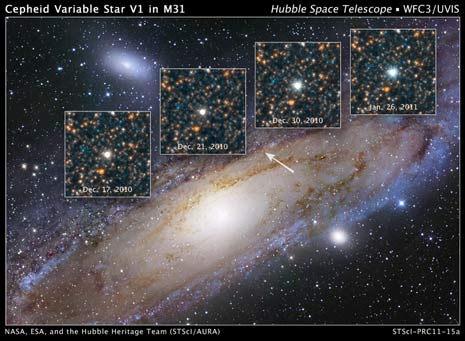 La posizione della V1 nella galassia di Andromeda