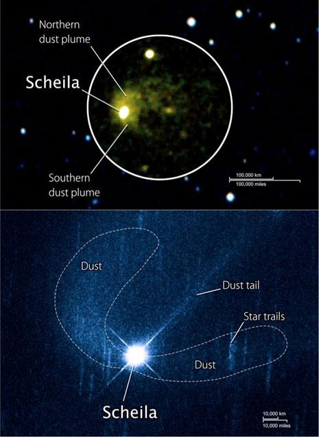 In alto l'immagine ripresa da Swift nell'ultravioletto. In basso quella di Hubble, dove si identifica anche una piccola coda di polvere