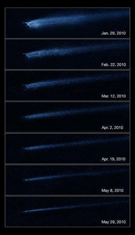 """La variazione della """"coda"""" di P/2010 A2 osservata dal telescopio Hubble"""